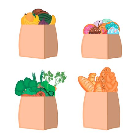 Set of four paper bags with groceries on white background. Vegetables, fruits, sweets, bakery products in eco package. Food delivery concept. Vector illustration. Ilustrace