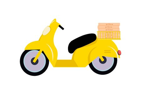 Yellow moped with a basket in which there are boxes of pizza on white background. Motorcycle driver courier concept. Bike scooter delivery concept. Vector illustration in a flat style.