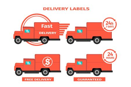 Red delivery trucks on white background. Set of four delivery labels. Round the clock, fast, free, guaranteed delivery concept. Vector illustration on white background.  イラスト・ベクター素材