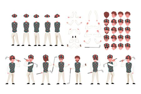 Golfer character constructor. Man golfer creation set. Different equipments, postures, emotions, body parts and clothes collection. Vector cartoon illustration. Front, side, back view Ilustrace