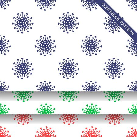 Coronavirus seamless pattern. COVID-19 virus backgrounds, wallapapers in blue, green and red colors. Vector illustration. Global spread dangerous coronavirus pandemic illustration concept