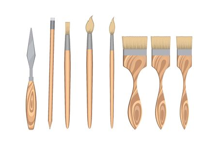 Set of painting tools isolated on background. Set consists of various brushes and a watercolor knife. Collection for artwork concept. Vector illustration