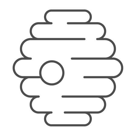Natural beehive thin line icon, Honey concept, nest of bees or wasps sign on white background, Honey bee house hive icon in outline style for mobile concept and web design. Vector graphics.