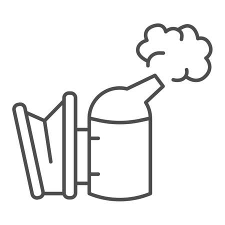 Beekeeping smoker thin line icon, beekeeper tools concept, Smoker for bees sign on white background, Apiary smoker icon in outline style for mobile concept and web design. Vector graphics.