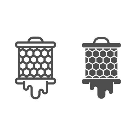 Grid with honeycombs from beehive line and solid icon, beekeeping concept, bee honey in honeycomb sign on white background, honeycombs icon in outline style for mobile and web design. Vector graphics. 일러스트