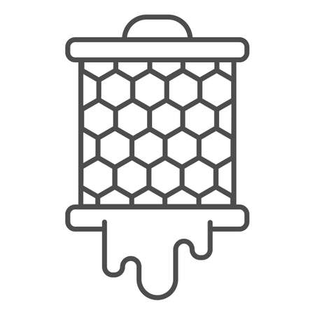 Grid with honeycombs from beehive thin line icon, beekeeping concept, bee honey in honeycomb sign on white background, honeycombs icon in outline style for mobile and web design. Vector graphics.