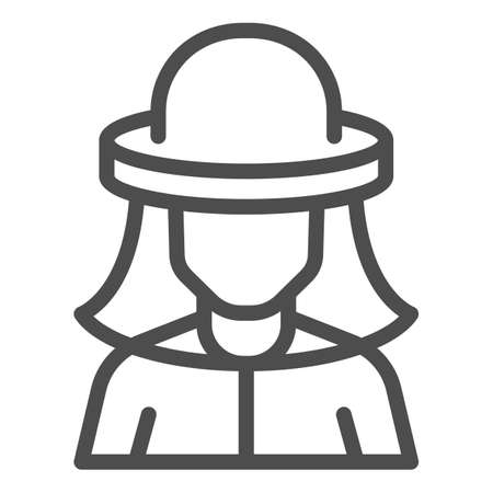 Beekeeper line icon, beekeeping concept, Beekeeper in protection hat sign on white background, Beekeeper man icon in outline style for mobile and web. Vector graphics. Illustration
