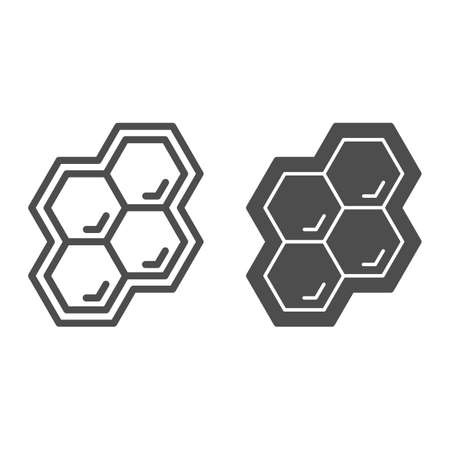 Honeycomb line and solid icon, Honey and bee concept, honey cells on white background, bee hexagon honeycomb icon in outline style for mobile concept and web design. Vector graphics.