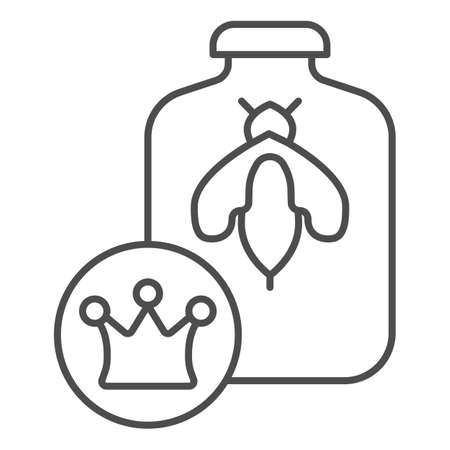 Queen of bees in bank thin line icon, Honey concept, Queen Bee sign on white background, Bee in glass jar and crown icon in outline style for mobile concept and web design. Vector graphics. Illustration