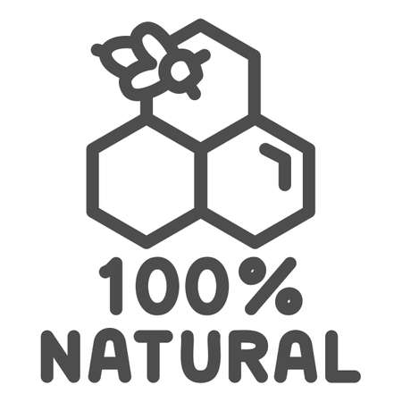 Honeycombs with bee and text natural honey line icon, Natural organic honey sign on white background, Honey bee on cells icon in outline style for mobile concept and web. Vector graphics.