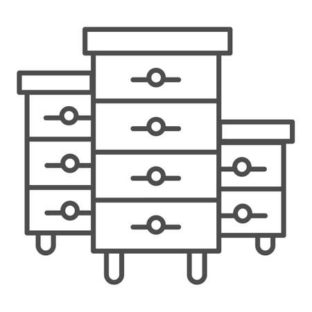 Bee hives thin line icon, beekeeping concept, Bee houses sign on white background, Hives for bees icon in outline style for mobile concept and web design. Vector graphics.