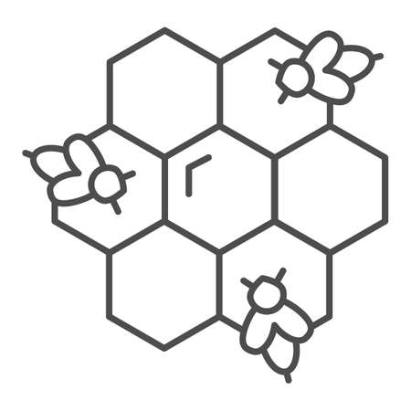 Honeycomb with bees thin line icon, Honey concept, Honey bees in honeycomb sign on white background, bee in hexagons icon in outline style for mobile concept and web design. Vector graphics.