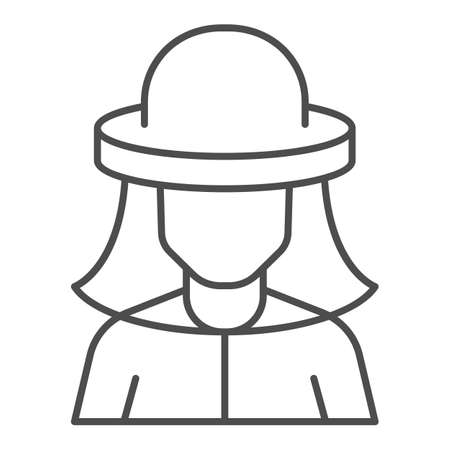 Beekeeper thin line icon, beekeeping concept, Beekeeper in protection hat sign on white background, Beekeeper man icon in outline style for mobile and web. Vector graphics.