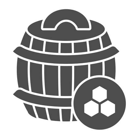 Barrel of honey solid icon, beekeeping concept, wooden barrel and honeycomb sign on white background, honey keg icon in glyph style for mobile concept and web design. Vector graphics.