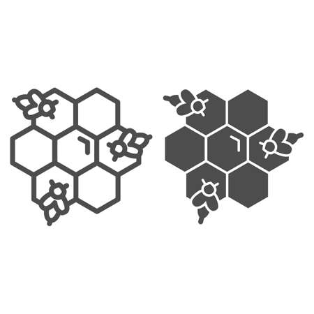 Honeycomb with bees line and solid icon, Honey concept, Honey bees in honeycomb sign on white background, bee in hexagons icon in outline style for mobile concept and web design. Vector graphics. Illustration