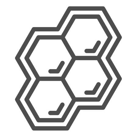 Honeycomb line icon, Honey and bee concept, honey cells on white background, bee hexagon honeycomb icon in outline style for mobile concept and web design. Vector graphics. Illustration