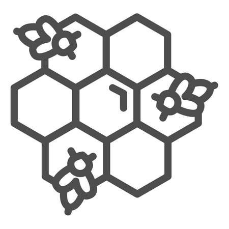 Honeycomb with bees line icon, Honey concept, Honey bees in honeycomb sign on white background, bee in hexagons icon in outline style for mobile concept and web design. Vector graphics. Illustration