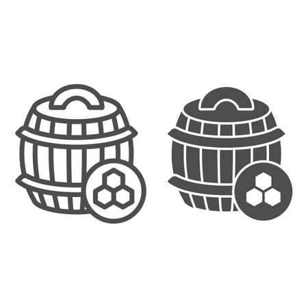 Barrel of honey line and solid icon, beekeeping concept, wooden barrel and honeycomb sign on white background, honey keg icon in outline style for mobile concept and web design. Vector graphics.