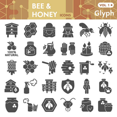 Bee and honey solid icon set, beekeeping symbols collection or sketches. Bee glyph style signs for web and app. Vector graphics isolated on white background