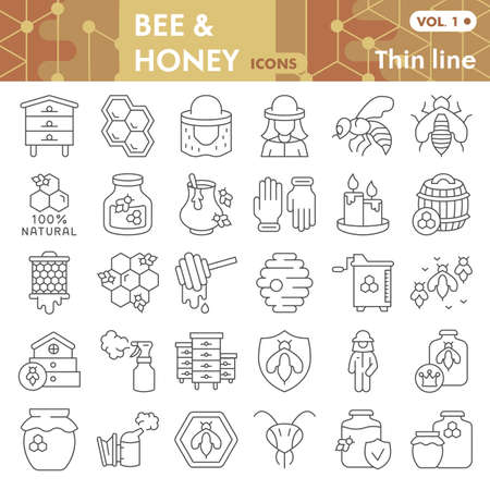 Bee and honey thin line icon set, beekeeping symbols collection or sketches. Bee linear style signs for web and app. Vector graphics isolated on white background Illustration