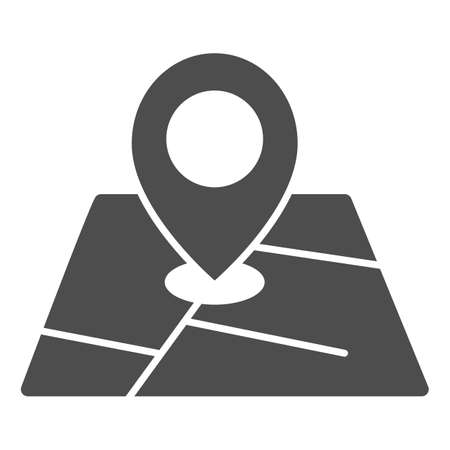 Map and location marker solid icon, cartography concept, Geolocation sign on map sign on white background, GPS navigator map icon in glyph style for mobile and web design. Vector graphics