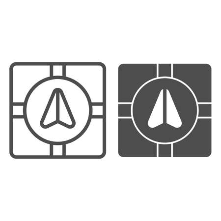GPS navigator marker and crossroads line and solid icon, Navigation concept, Navigation arrow on city map sign on white background, Road map navigation with pointer icon in outline. Vector graphics