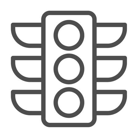 Traffic lights line icon, Navigation concept, Traffic light signal sign on white background, road light with three luminous light bulbs icon in outline style for mobile. Vector graphics.