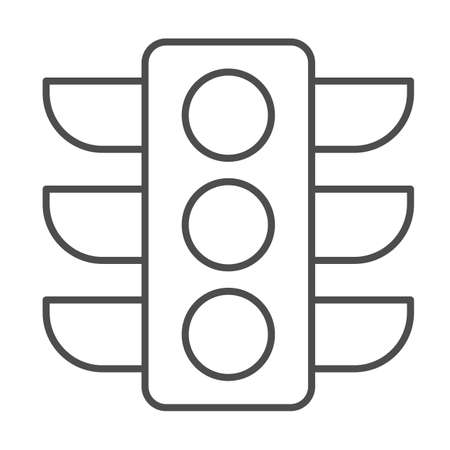 Traffic lights thin line icon, Navigation concept, Traffic light signal sign on white background, road light with three luminous light bulbs icon in outline style for mobile. Vector graphics. Ilustração