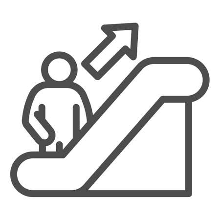 Person on escalator sign line icon, Navigation concept, Escalator up sign on white background, elevator icon in outline style for mobile concept and web design. Vector graphics.