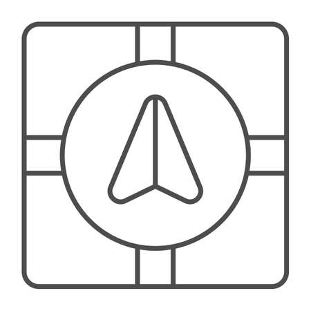 GPS navigator marker and crossroads thin line icon, Navigation concept, Navigation arrow on city map sign on white background, Road map navigation with pointer icon in outline. Vector graphics.