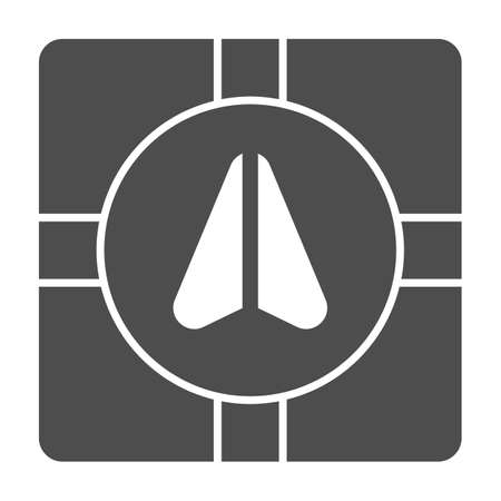 GPS navigator marker and crossroads solid icon, Navigation concept, Navigation arrow on city map sign on white background, Road map navigation with pointer icon in glyph. Vector graphics. Ilustração