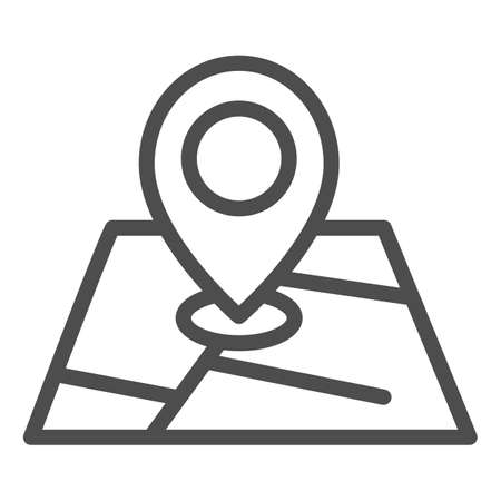 Map and location marker line icon, cartography concept, Geolocation sign on map sign on white background, GPS navigator map icon in outline style for mobile and web design. Vector graphics. Ilustração