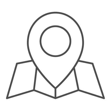 Location marker and map thin line icon, cartography concept, map with point marker sign on white background, GPS navigator map icon in outline style for mobile and web design. Vector graphics.