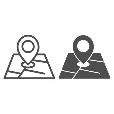 Map and location marker line and solid icon, cartography concept, Geolocation sign on map sign on white background, GPS navigator map icon in outline style for mobile and web design. Vector graphics.