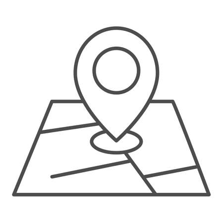 Map and location marker thin line icon, cartography concept, Geolocation sign on map sign on white background, GPS navigator map icon in outline style for mobile and web design. Vector graphics.
