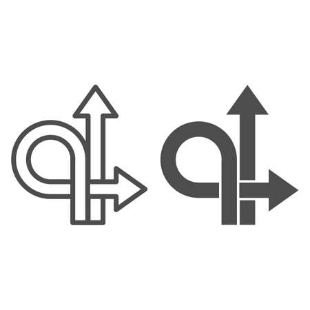 Arrows straight and turn back line and solid icon, Traffic concept, U-turn sign on white background, Go straight or turn back icon in outline style for mobile concept and web design. Vector graphics.