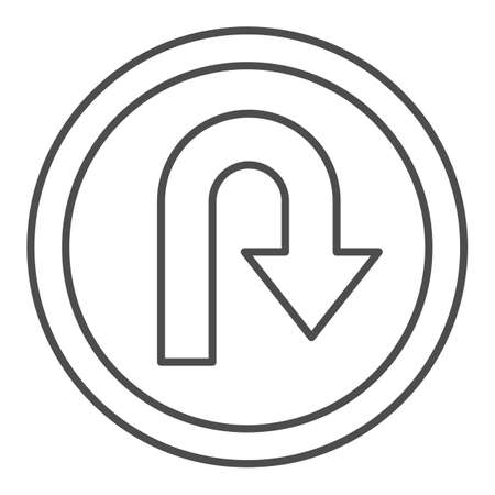 U-turn traffic sign thin line icon, Navigation concept road sign with turn symbol on white background, U-Turn road sign icon in outline style for mobile concept and web design. Vector graphics. Çizim