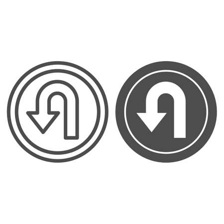 U-turn traffic sign line and solid icon, Navigation concept road sign with turn symbol on white background, U-Turn road sign icon in outline style for mobile concept and web design. Vector graphics.