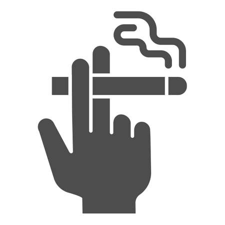 Hand with a cigarette solid icon, Smoking concept, Hand holding cigarette sign on white background, Smoker hand icon in glyph style for mobile concept and web design. Vector graphics. 일러스트