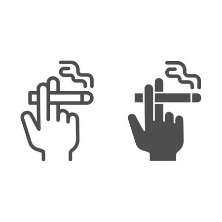 Hand with a cigarette line and solid icon, Smoking concept, Hand holding cigarette sign on white background, Smoker hand icon in outline style for mobile concept and web design. Vector graphics.