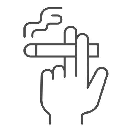 Hand with a cigarette thin line icon, Smoking concept, Hand holding cigarette sign on white background, Smoker hand icon in outline style for mobile concept and web design. Vector graphics.