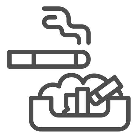 Cigarette in ashtray line icon, Smoking concept, ash tray sign on white background, smoky cigarette and butts lying in ashtray icon in outline style for mobile, web design. Vector graphics.