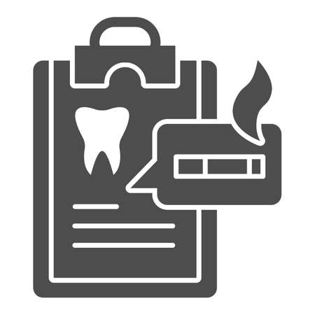 Dentist questionnaire solid icon, Smoking concept, harm of smoking in checklist sign on white background, smoker medical list icon in glyph style for mobile, web design. Vector graphics. Stock Illustratie