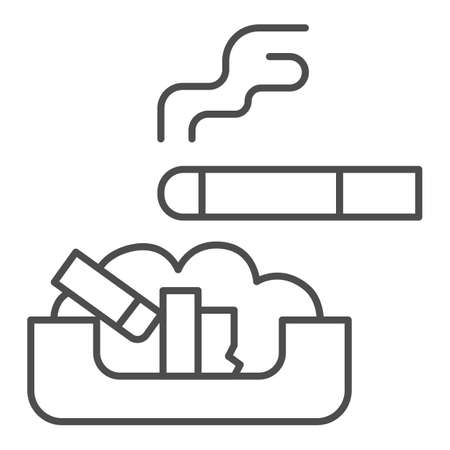 Cigarette in ashtray thin line icon, Smoking concept, ash tray sign on white background, smoky cigarette and butts lying in ashtray icon in outline style for mobile, web design. Vector graphics. Vecteurs