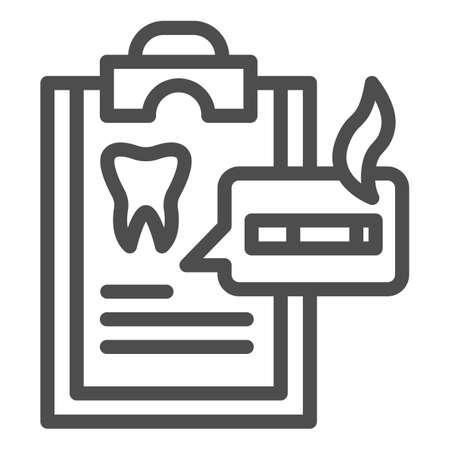 Dentist questionnaire line icon, Smoking concept, harm of smoking in checklist sign on white background, smoker medical list icon in outline style for mobile, web design. Vector graphics. Stock Illustratie