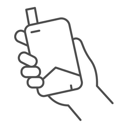 Hand with electronic cigarette thin line icon, Smoking concept, E cigarette in hand sign on white background, Smoking device in hand icon in outline style for mobile and web. Vector graphics. Ilustracja