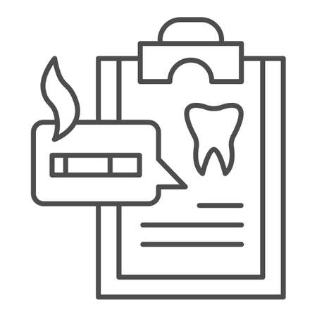 Dentist questionnaire thin line icon, Smoking concept, harm of smoking in checklist sign on white background, smoker medical list icon in outline style for mobile, web design. Vector graphics. Stock Illustratie