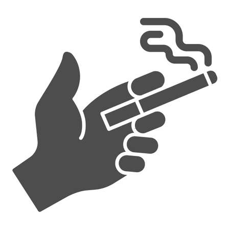 Smoke cigarette in hand solid icon, Smoking concept, Hand holding cigarette sign on white background, Hand with cigarette icon in glyph style for mobile and web design. Vector graphics.