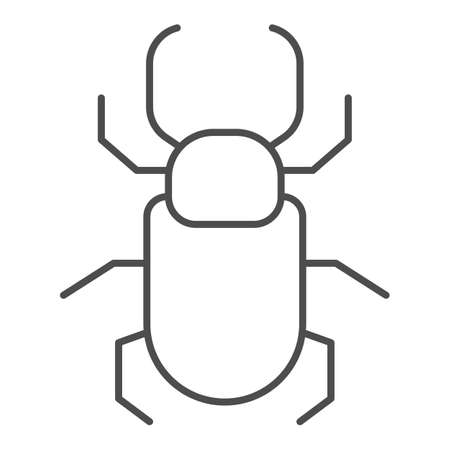 Beetle stag thin line icon, Insects concept, stag-beetle sign on white background, large beetle with branched jaws icon in outline style for mobile concept and web design. Vector graphics.
