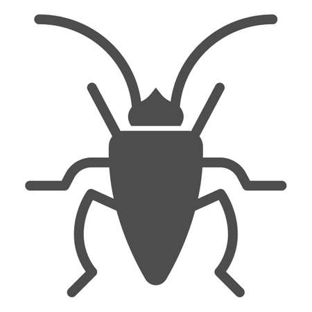 Cockroach solid icon, Insects concept, roach sign on white background, Cockroach silhouette icon in glyph style for mobile concept and web design. Vector graphics.